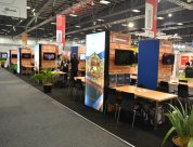 Trade show stand designed and built by Peek Exhibition to incorporate the regional operators together at trade shows