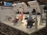 Eye catching Feature walls to showcase dental chairs at NZDA 2015 design and build by Peek Exhibition for Henry Schein Dental